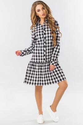 Платье-рубашка с оборкой в черно-белую клетку