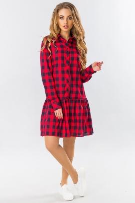 Платье-рубашка с оборкой в красно-черную клетку