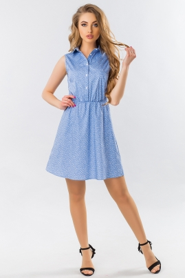 Платье-рубашка без рукавов в мелкий цветочек на голубом