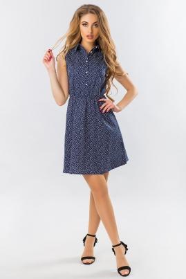 Платье-рубашка без рукавов в мелкий цветочек на темно-синем