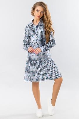 Платье-рубашка с оборкой в клетку (синяя роза)
