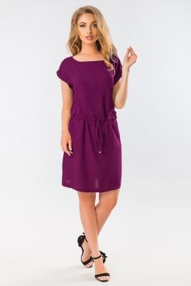 Фиолетовое летнее платье с манжетом
