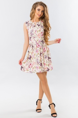 Летнее платье Цветы и бабочки