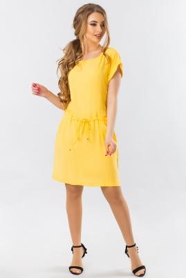 Желтое летнее платье с манжетом