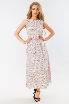 Бежевое платье в горошек с длинной юбкой