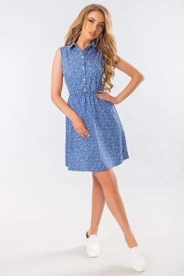 Голубое платье-рубашка с узором