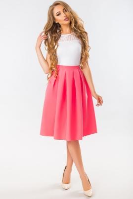Коралловая юбка миди с карманами