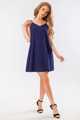 Темно-синее платье с бантом на спине