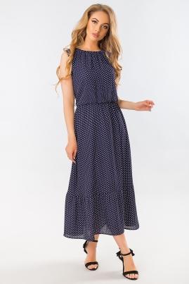Темно-синее платье в горошек с длинной юбкой