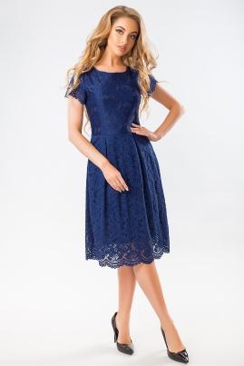 Темно-синее гипюровое платье