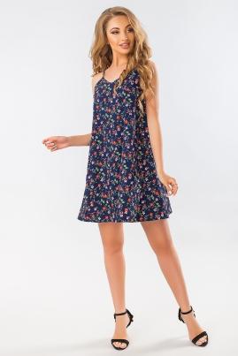 Платье с бантом на спине цветы на темно-синем