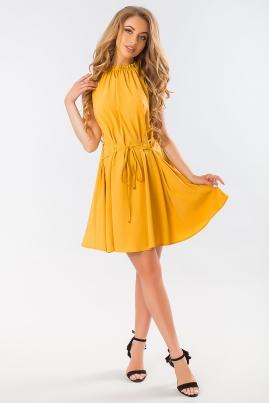 Горчичное платье со шнуровкой