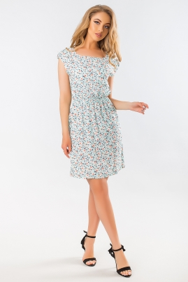 Летнее платье цветы на голубом