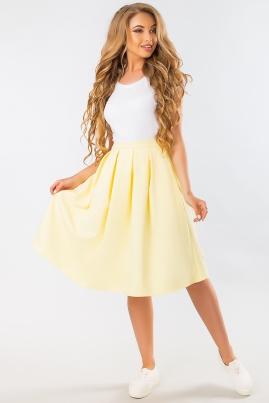 Желтая юбка миди с карманами