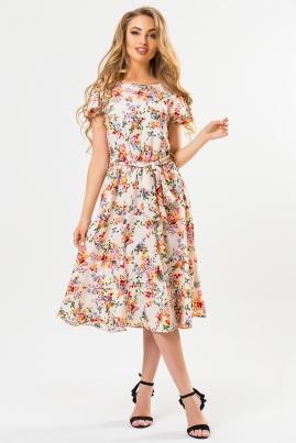 Бежевое платье в цветочек с воланчиками на рукавах