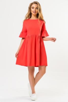 Коралловое платье с рукавами воланчиками