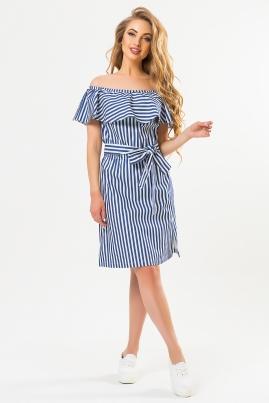 Джинсовое платье в полоску с оборкой