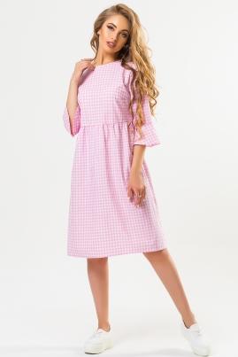 Платье с бантиками на спине в розовую клетку