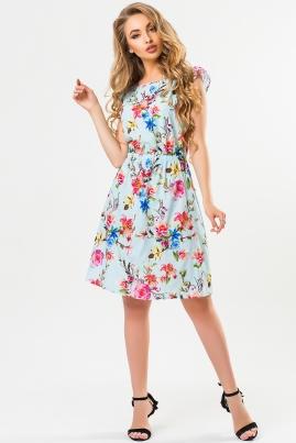 Платье с рюшью и принтом розы на голубом