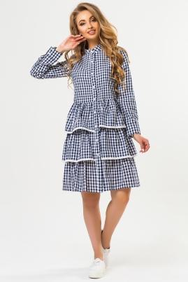 Платье-рубашка с кружевом в темно-синюю клетку