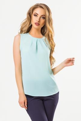 Мятная блузка со складками