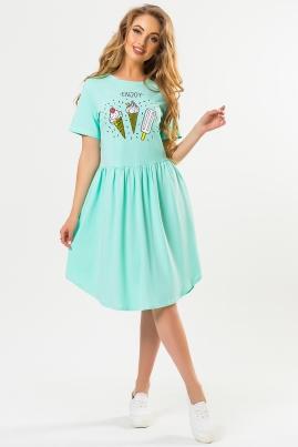 Мятное платье с принтом Enjoy