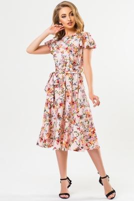 Розовое платье в цветочек с воланчиками на рукавах