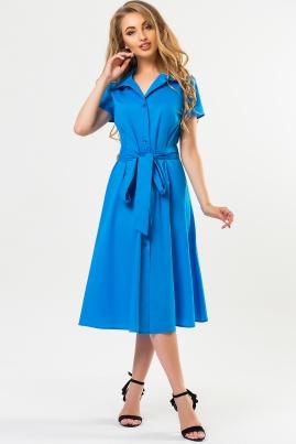 Бирюзовое платье-рубашка с поясом