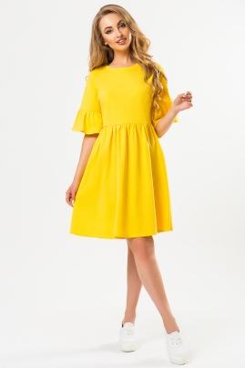 Желтое платье с рукавами воланчиками