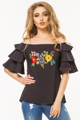 Черная блузка с воланами и вышивкой
