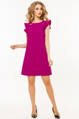 Темно-вишневое платье с воланами на плечах