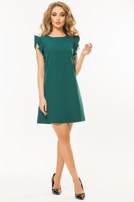 Темно-зеленое платье с воланами на плечах