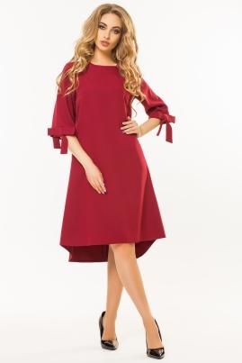 Темно-красное платье с бантиками на рукавах