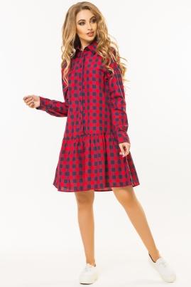 Платье с оборкой по низу в красную клетку