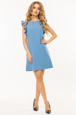 Серо-голубое платье с воланами на плечах