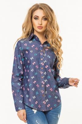 Джинсовая рубашка с бантиками