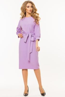 Сиреневое платье с поясом и цельнокроеным рукавом