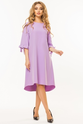 Сиреневое платье с бантиками на рукавах