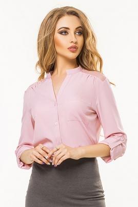 Розовая блузка с гипюровой кокеткой