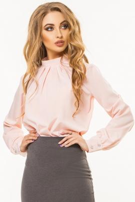 Пудровая блузка на стойке со складами