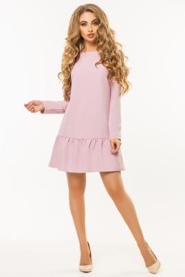 Пудровое платье с длинным рукавом