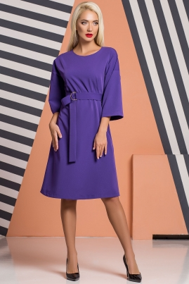 Фиолетовое платье-кимоно с пряжкой и поясом