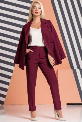 Бордовые брюки с карманами