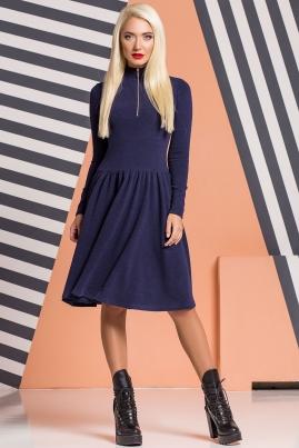 Темно-синее платье со сборками и золотистой молнией