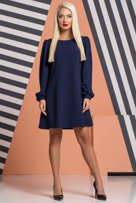 Темно-синее платье со сборками на плечах