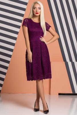 Сливовое гипюровое платье со складками