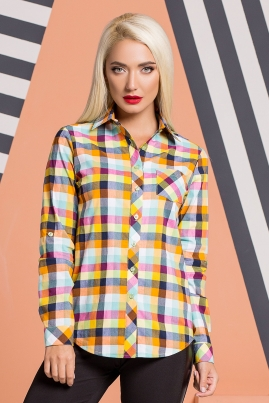 Рубашка с карманом в яркую клетку