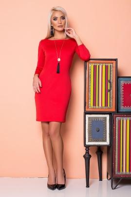 Платье-футляр красного цвета