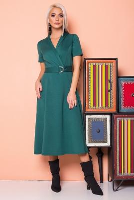 Зеленое платье с воротником шалька