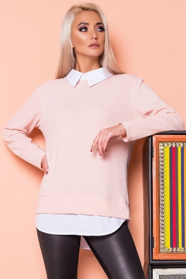 Персиковый джемпер с имитацией рубашки